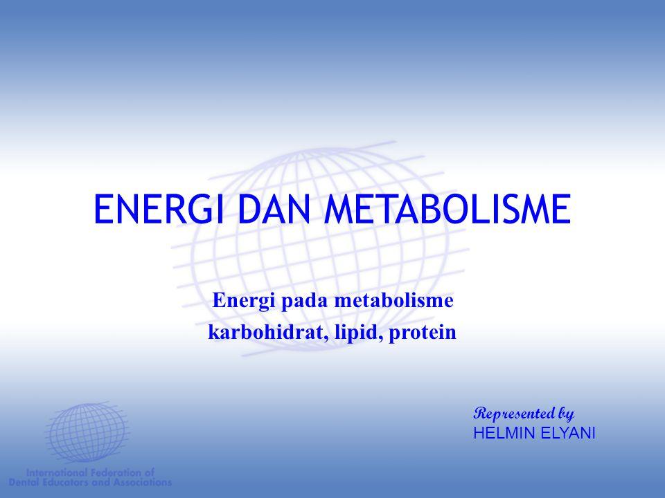 ENERGI DAN METABOLISME Energi pada metabolisme karbohidrat, lipid, protein Represented by HELMIN ELYANI