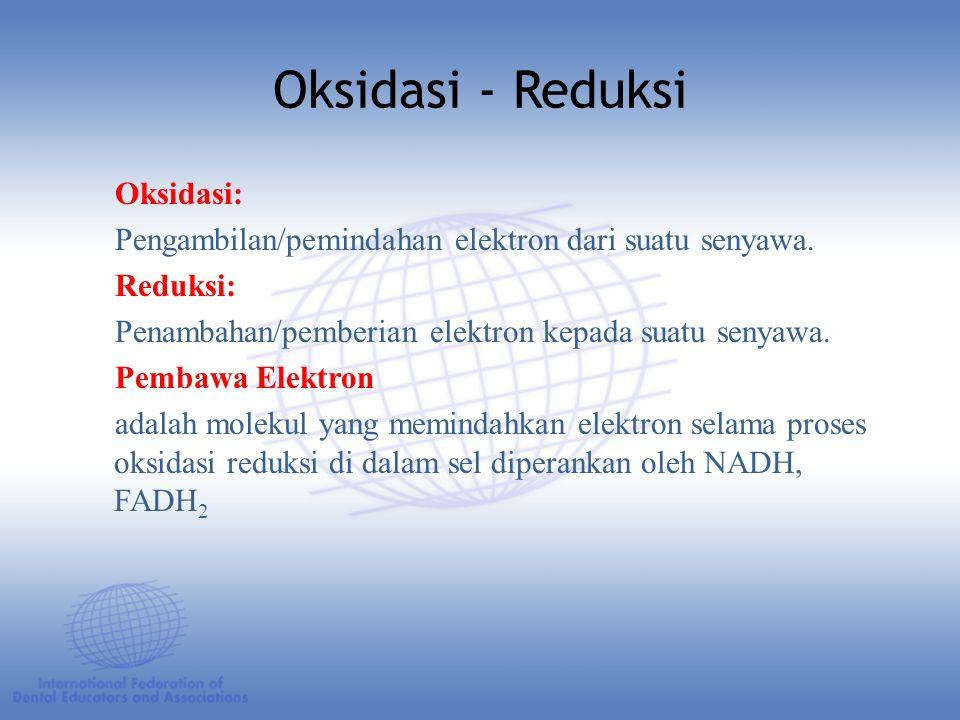 Oksidasi: Pengambilan/pemindahan elektron dari suatu senyawa.