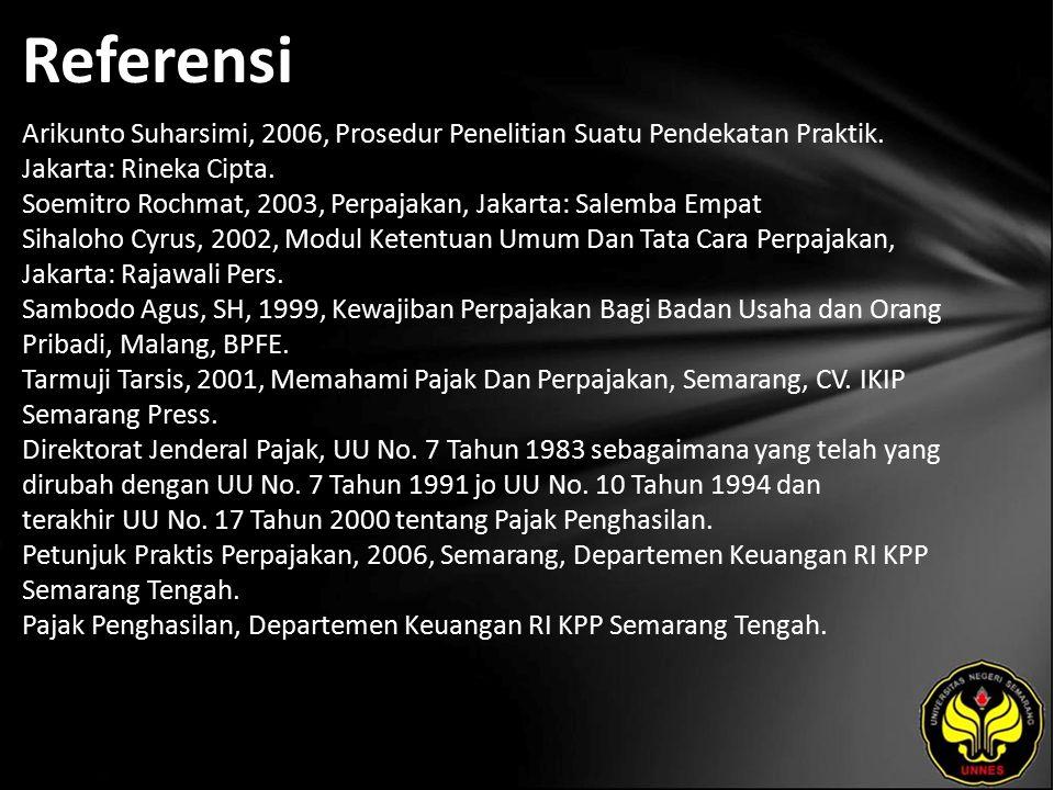Referensi Arikunto Suharsimi, 2006, Prosedur Penelitian Suatu Pendekatan Praktik. Jakarta: Rineka Cipta. Soemitro Rochmat, 2003, Perpajakan, Jakarta: