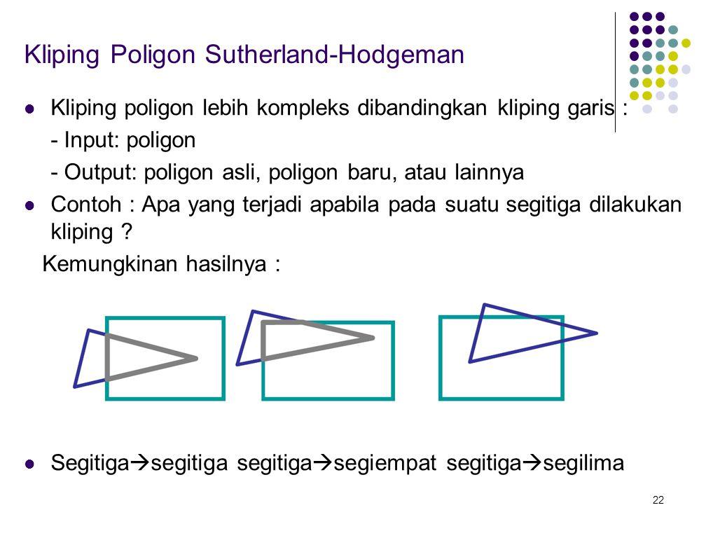 22 Kliping Poligon Sutherland-Hodgeman Kliping poligon lebih kompleks dibandingkan kliping garis : - Input: poligon - Output: poligon asli, poligon ba