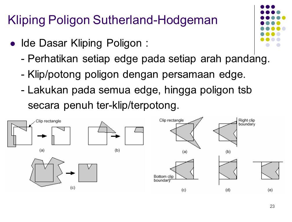 23 Kliping Poligon Sutherland-Hodgeman Ide Dasar Kliping Poligon : - Perhatikan setiap edge pada setiap arah pandang. - Klip/potong poligon dengan per