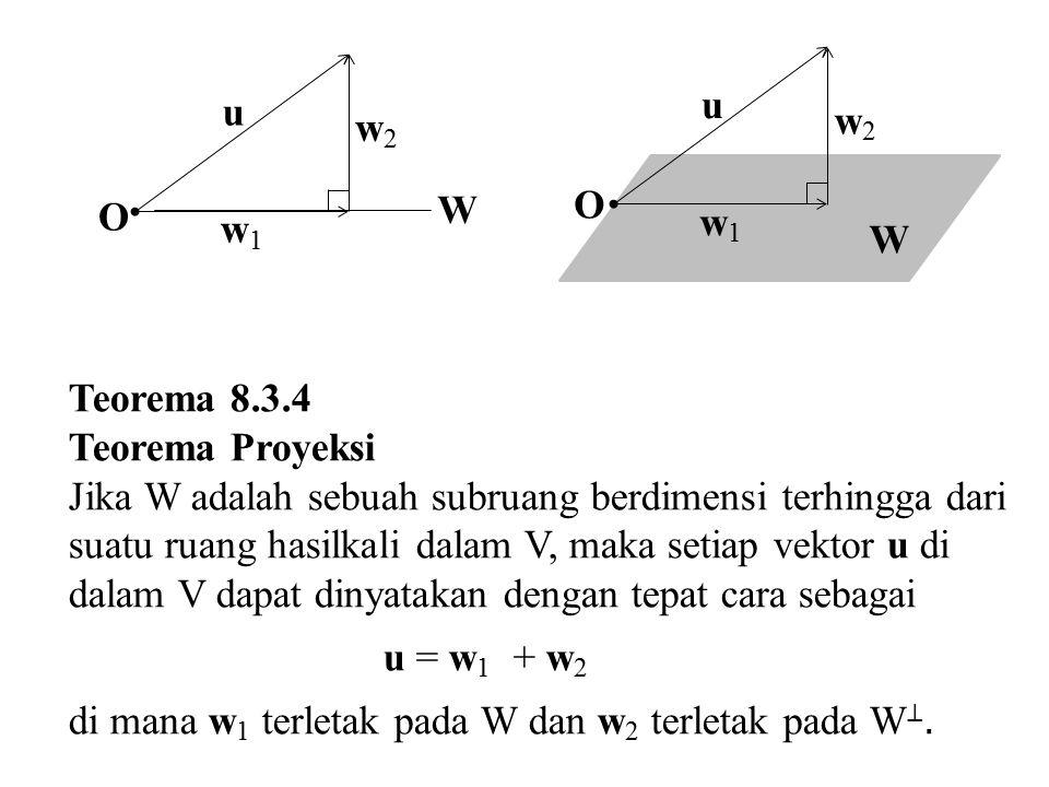 u W w1w1 w2w2 O u W w1w1 w2w2 O Teorema 8.3.4 Teorema Proyeksi Jika W adalah sebuah subruang berdimensi terhingga dari suatu ruang hasilkali dalam V,