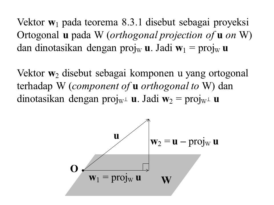 u W w 2 = u – proj W u O w 1 = proj W u Vektor w 1 pada teorema 8.3.1 disebut sebagai proyeksi Ortogonal u pada W (orthogonal projection of u on W) da