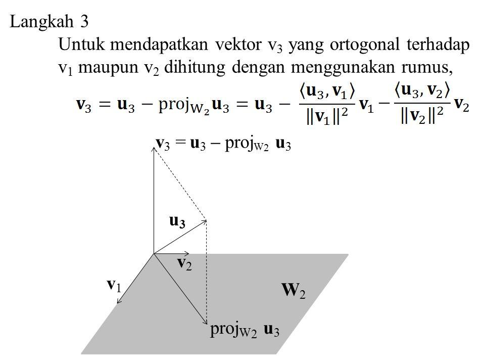 Langkah 3 Untuk mendapatkan vektor v 3 yang ortogonal terhadap v 1 maupun v 2 dihitung dengan menggunakan rumus, W2W2 v 3 = u 3 – proj W 2 u 3 v1v1 v2