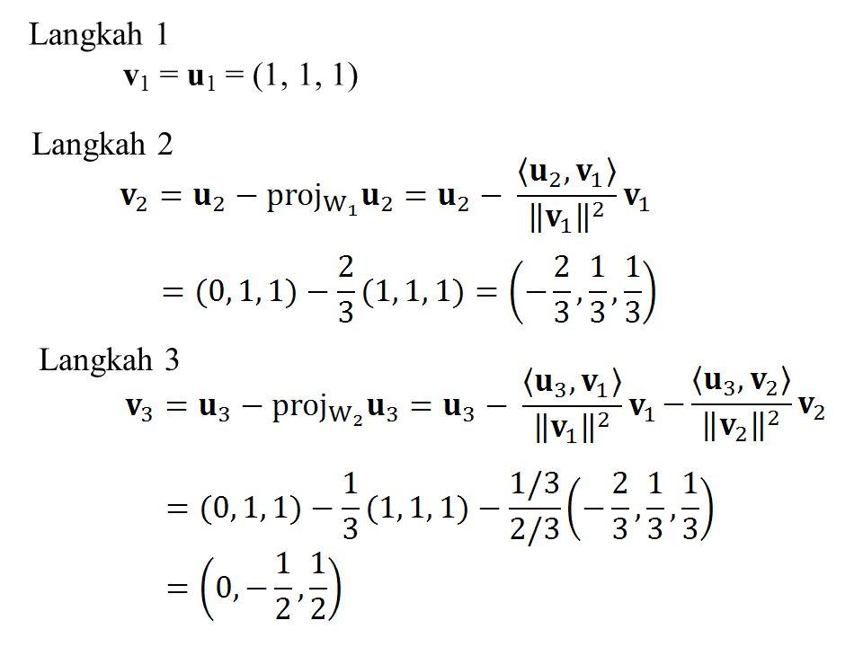 Langkah 1 v 1 = u 1 = (1, 1, 1) Langkah 2 Langkah 3