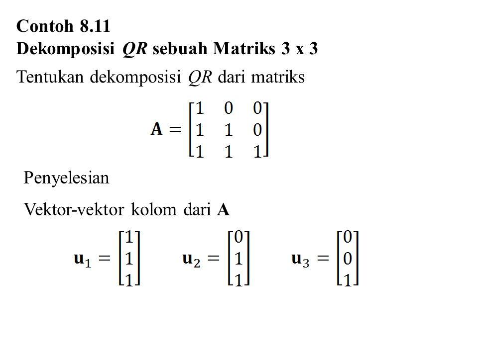 Contoh 8.11 Dekomposisi QR sebuah Matriks 3 x 3 Tentukan dekomposisi QR dari matriks Penyelesian Vektor-vektor kolom dari A