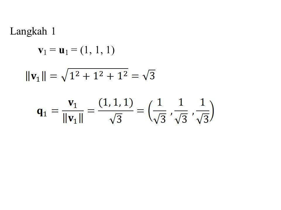 Langkah 1 v 1 = u 1 = (1, 1, 1)
