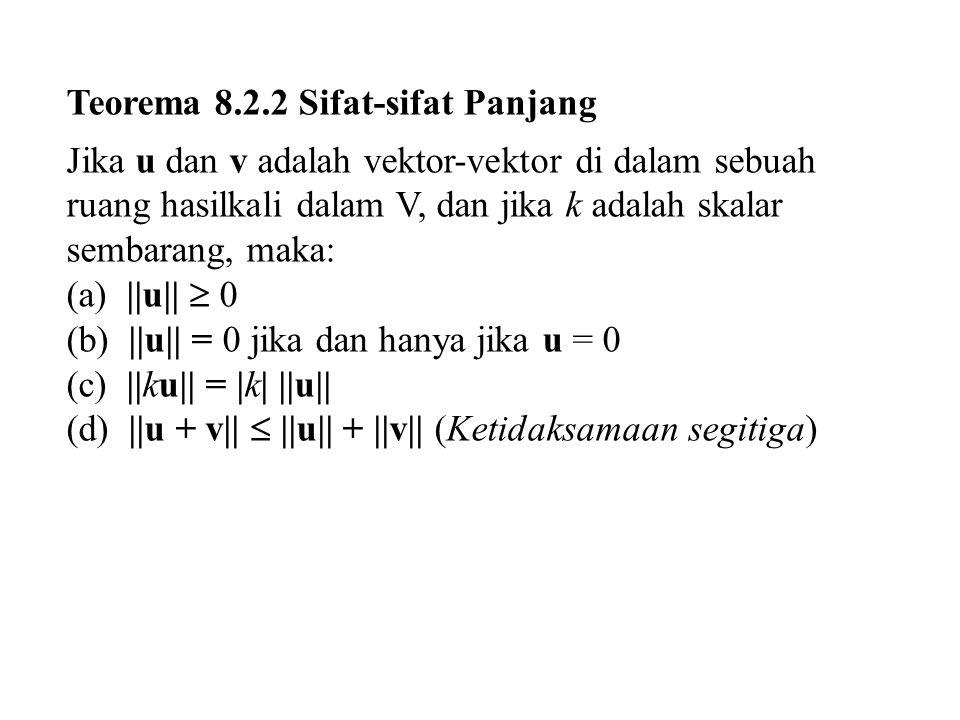 Teorema 8.2.3 Sifat-sifat Jarak Jika u, v, dan w adalah vektor-vektor di dalam sebuah ruang hasilkali dalam V, dan jika k adalah skalar sembarang, maka: (a) d(u, v)  0 (b) d(u, v) = 0 jika dan hanya jika u = v (c) d(u, v) = d(v, u)  0 (d)d(u, v)  d(u,w) + d(w, v) (Ketidaksamaan segitiga)