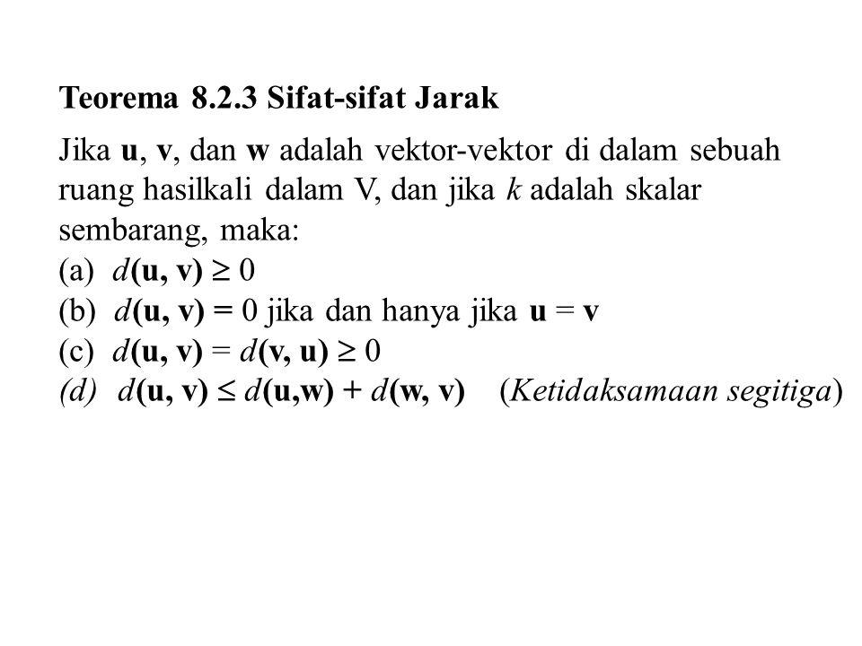 Teorema 8.2.3 Sifat-sifat Jarak Jika u, v, dan w adalah vektor-vektor di dalam sebuah ruang hasilkali dalam V, dan jika k adalah skalar sembarang, mak