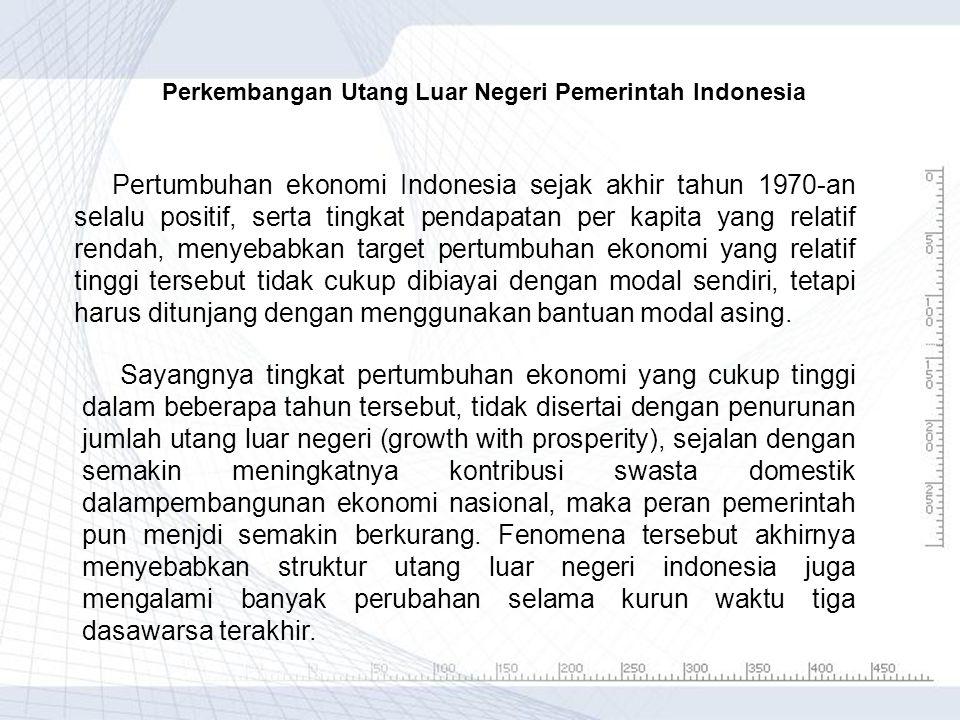 Perkembangan Utang Luar Negeri Pemerintah Indonesia Pertumbuhan ekonomi Indonesia sejak akhir tahun 1970-an selalu positif, serta tingkat pendapatan p