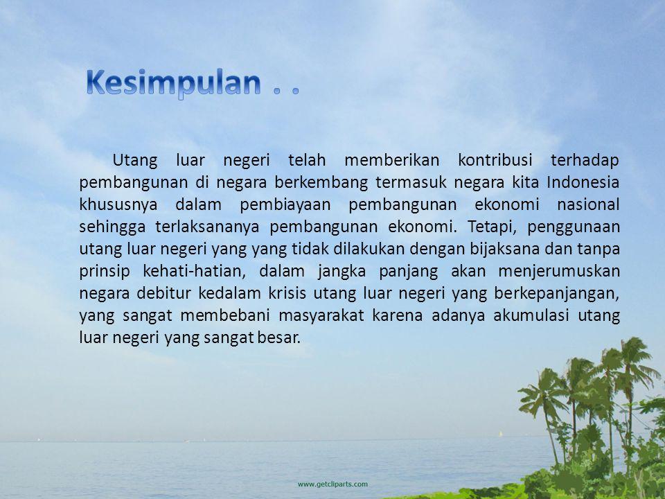 Utang luar negeri telah memberikan kontribusi terhadap pembangunan di negara berkembang termasuk negara kita Indonesia khususnya dalam pembiayaan pemb