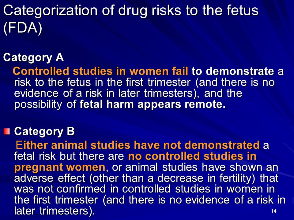 14 Categorization of drug risks to the fetus (FDA) Category A Controlled studies in women fail to demonstrate a risk to the fetus in the first trimest
