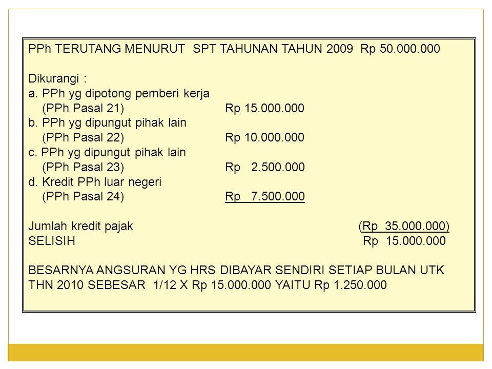 PPh TERUTANG MENURUT SPT TAHUNAN TAHUN 2009 Rp 50.000.000 Dikurangi : a.