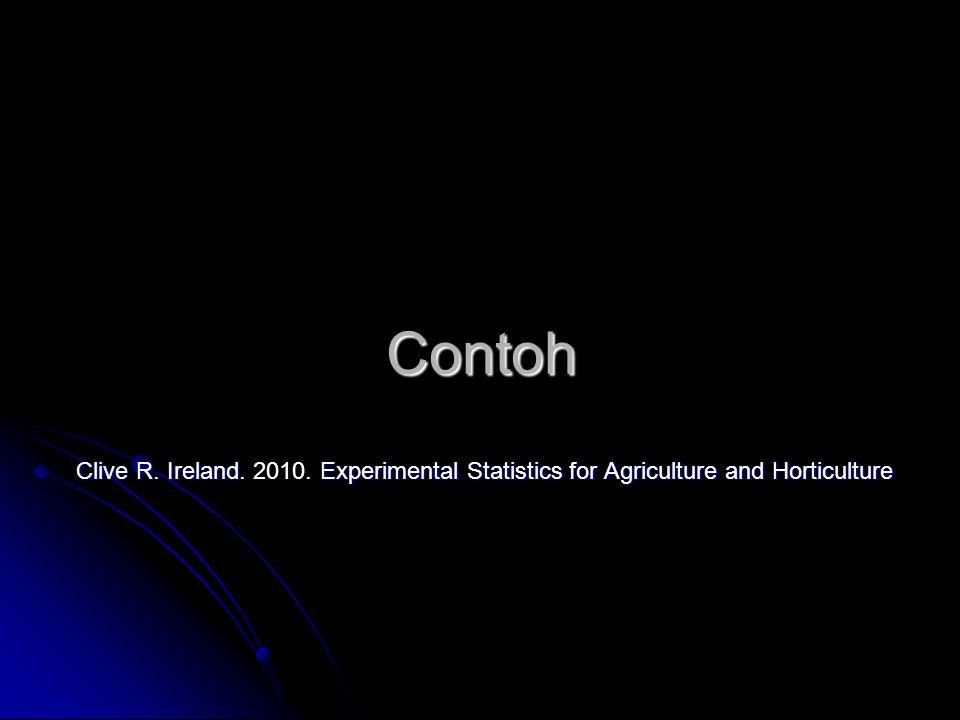 Contoh Clive R. Ireland. Experimental Statistics for Agriculture and Horticulture Clive R. Ireland. 2010. Experimental Statistics for Agriculture and