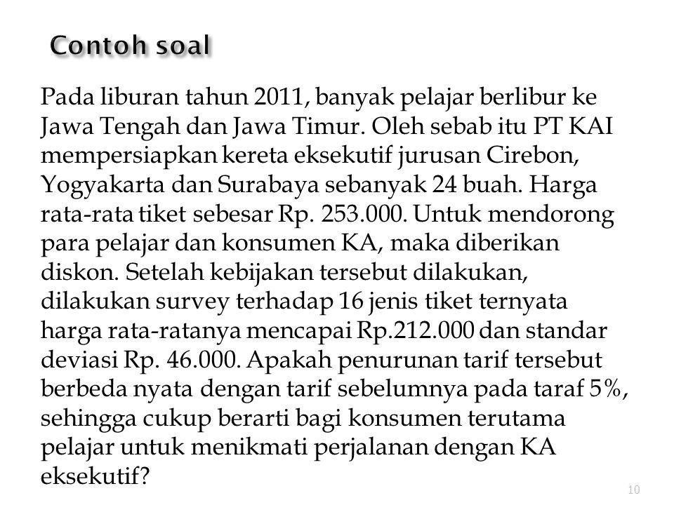 Pada liburan tahun 2011, banyak pelajar berlibur ke Jawa Tengah dan Jawa Timur.