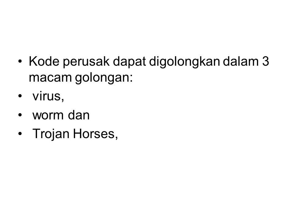 Kode perusak dapat digolongkan dalam 3 macam golongan: virus, worm dan Trojan Horses,