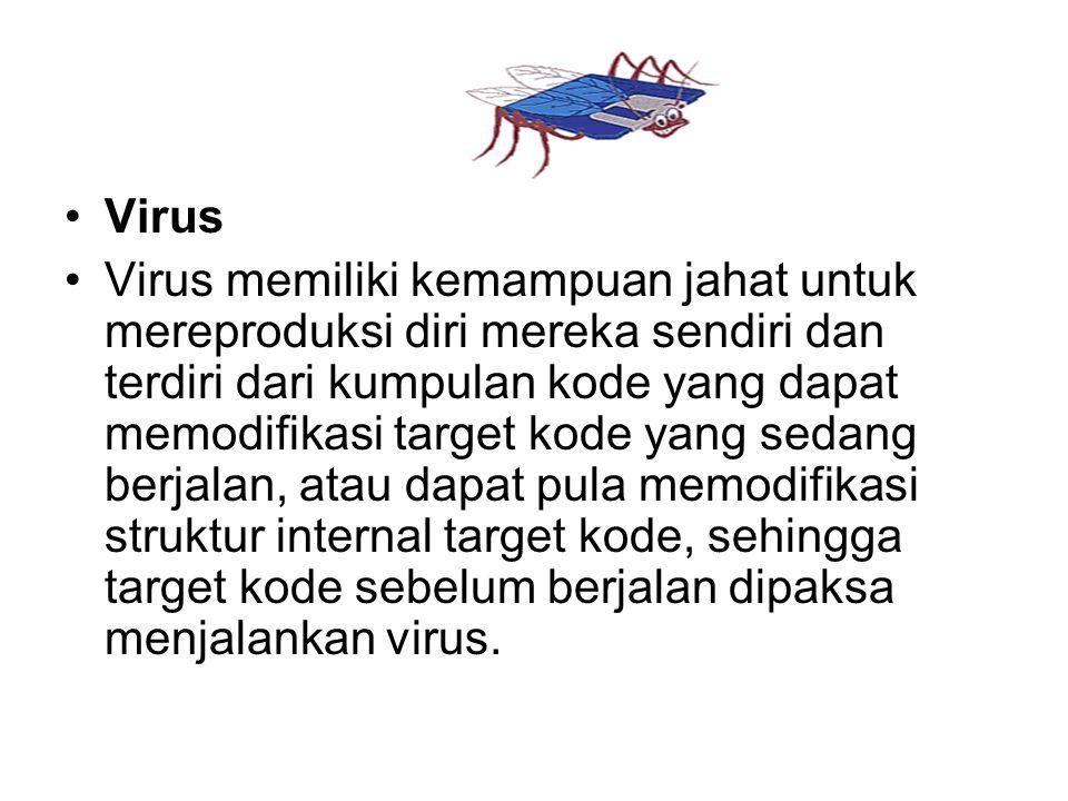 Virus Virus memiliki kemampuan jahat untuk mereproduksi diri mereka sendiri dan terdiri dari kumpulan kode yang dapat memodifikasi target kode yang se
