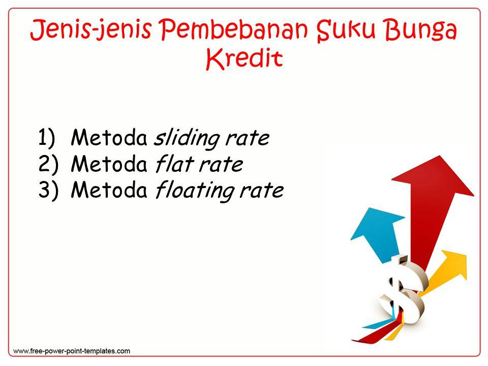Jenis-jenis Pembebanan Suku Bunga Kredit 1)Metoda sliding rate 2)Metoda flat rate 3)Metoda floating rate