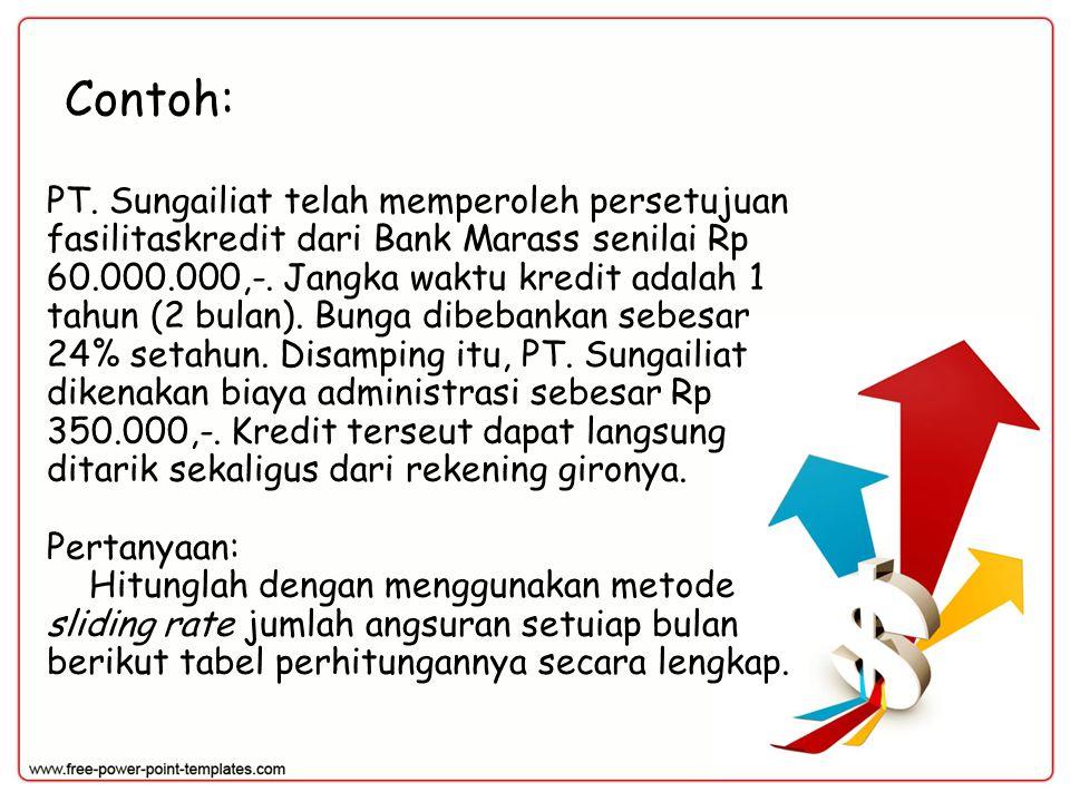 Contoh: PT. Sungailiat telah memperoleh persetujuan fasilitaskredit dari Bank Marass senilai Rp 60.000.000,-. Jangka waktu kredit adalah 1 tahun (2 bu