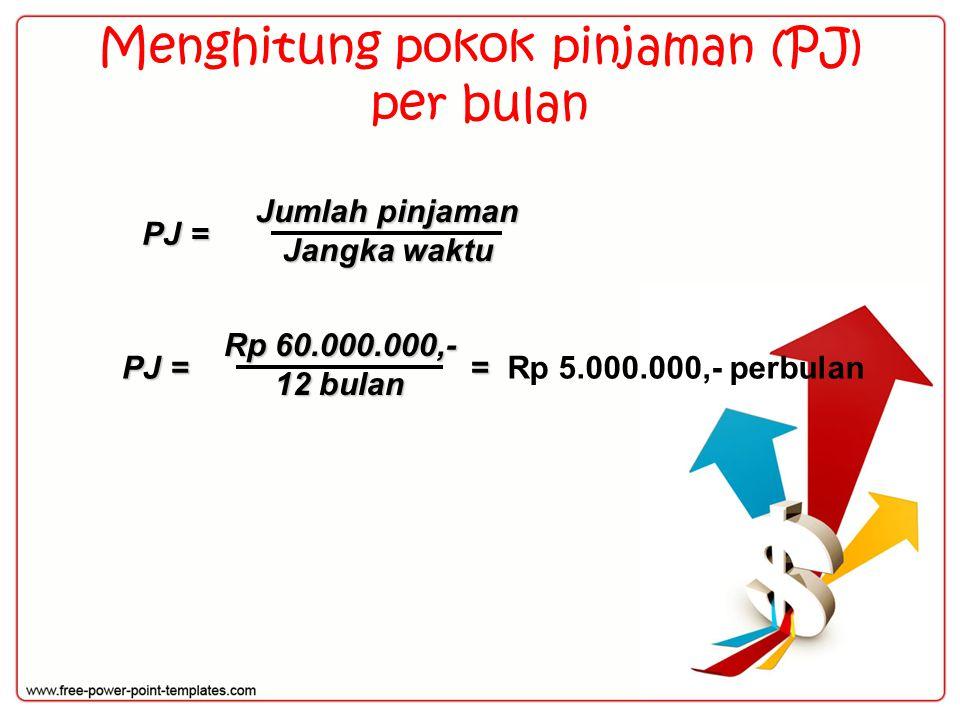 Menghitung pokok pinjaman (PJ) per bulan PJ = Jumlah pinjaman Jangka waktu PJ = Rp 60.000.000,- 12 bulan Rp 5.000.000,- perbulan =