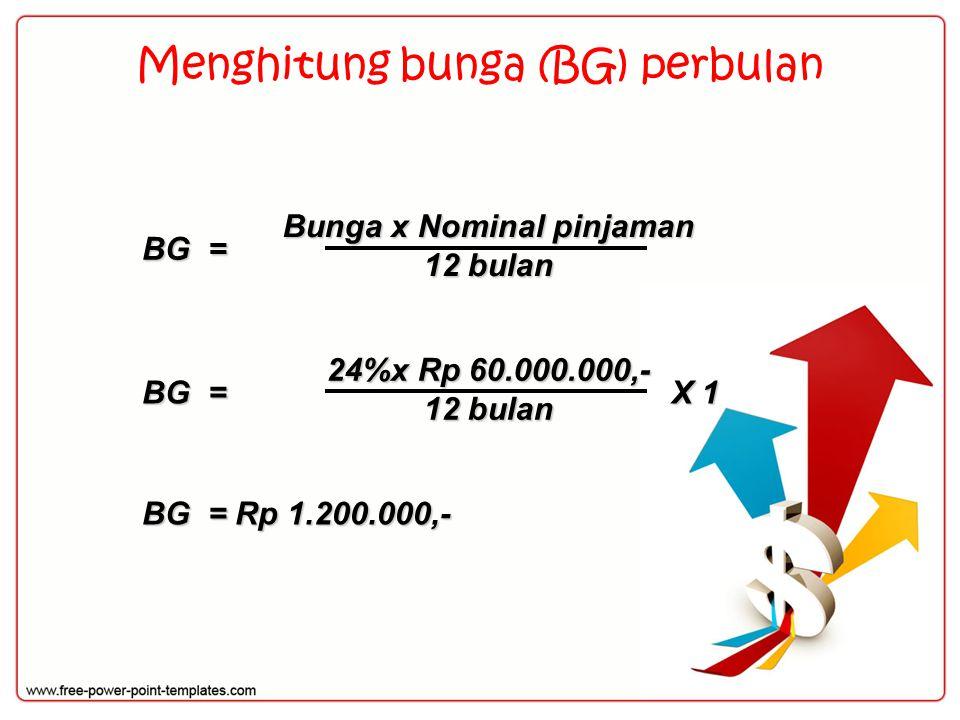 Menghitung bunga (BG) perbulan BG = Bunga x Nominal pinjaman 12 bulan X 1 BG = Rp 1.200.000,- BG = 24%x Rp 60.000.000,- 12 bulan