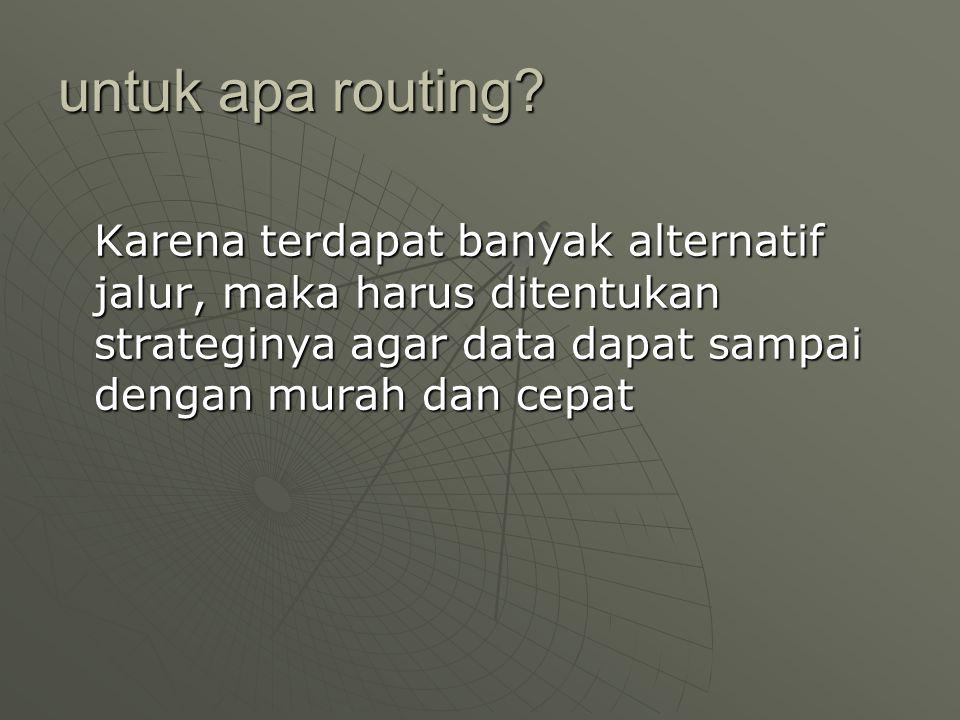 routing  Fixed routing : berdasarkan jarak minimal  Adaptif routing : menyesuaikan diri mencari jarak minimal yang lain, jika fixed routing tidak dapat ditempuh karena macet/terputus  Random routing : menempuh jalur dengan datarate terbesar dari beberapa alternatif jalur yang tersedia ke node terdekat  Flooding : membanjiri seluruh jalur dengan data digunakan pada jaringan broadcast