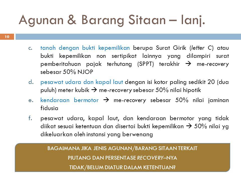 Agunan & Barang Sitaan – lanj. c.tanah dengan bukti kepemilikan berupa Surat Girik (letter C) atau bukti kepemilikan non sertipikat lainnya yang dilam