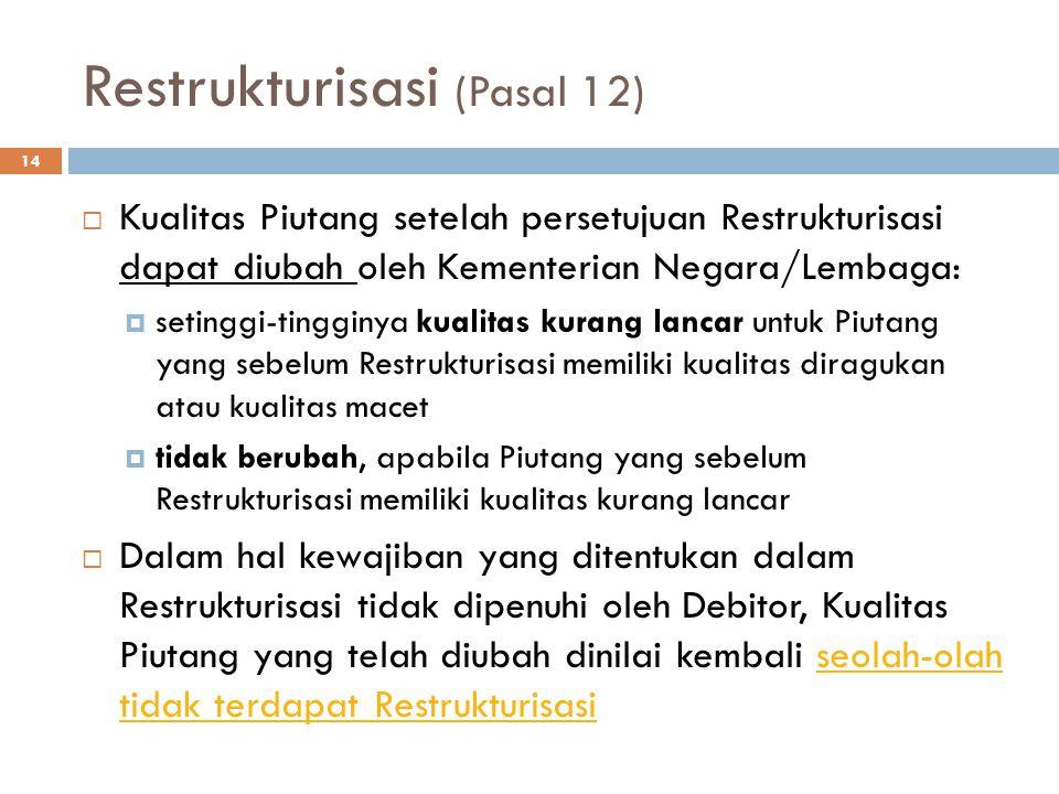 Restrukturisasi (Pasal 12)  Kualitas Piutang setelah persetujuan Restrukturisasi dapat diubah oleh Kementerian Negara/Lembaga:  setinggi-tingginya k