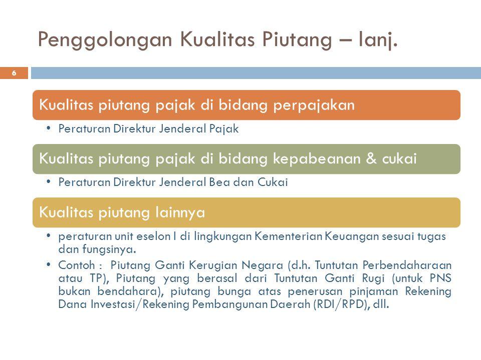 Penggolongan Kualitas Piutang – lanj. Kualitas piutang pajak di bidang perpajakan Peraturan Direktur Jenderal Pajak Kualitas piutang pajak di bidang k