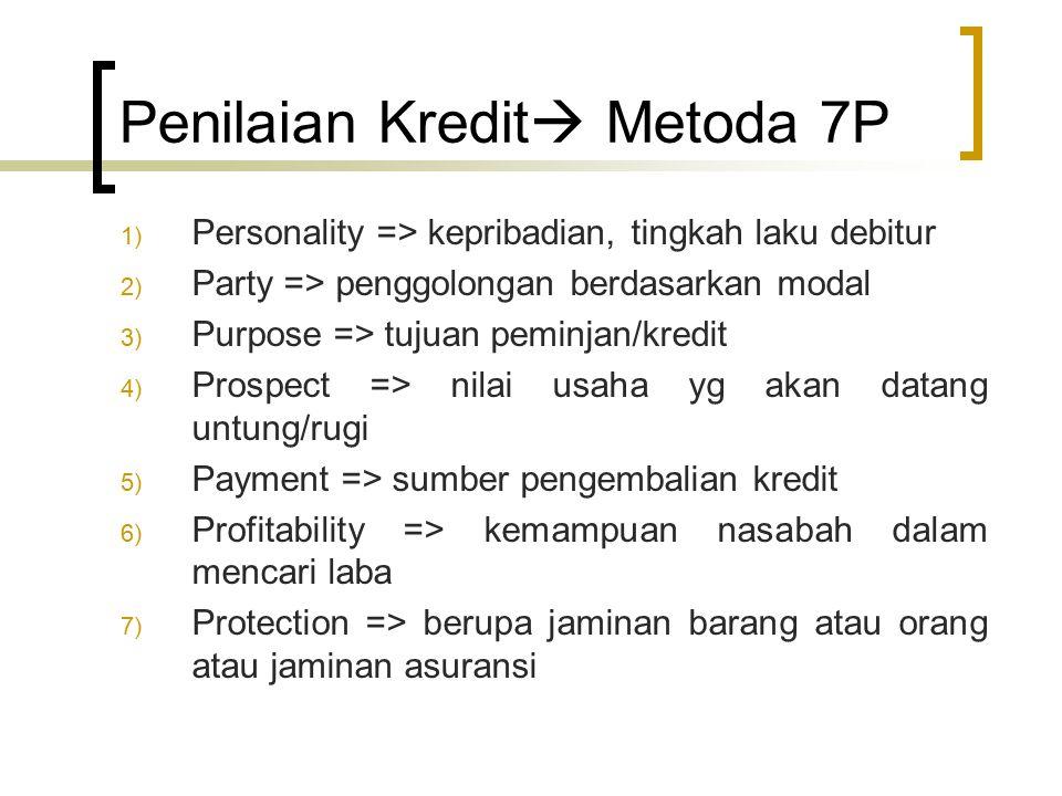 Penilaian Kredit  Metoda 7P 1) Personality => kepribadian, tingkah laku debitur 2) Party => penggolongan berdasarkan modal 3) Purpose => tujuan pemin