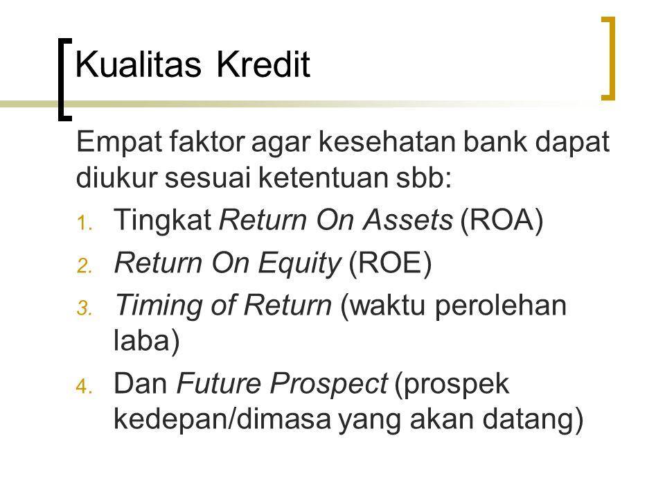 Kualitas Kredit Empat faktor agar kesehatan bank dapat diukur sesuai ketentuan sbb: 1. Tingkat Return On Assets (ROA) 2. Return On Equity (ROE) 3. Tim