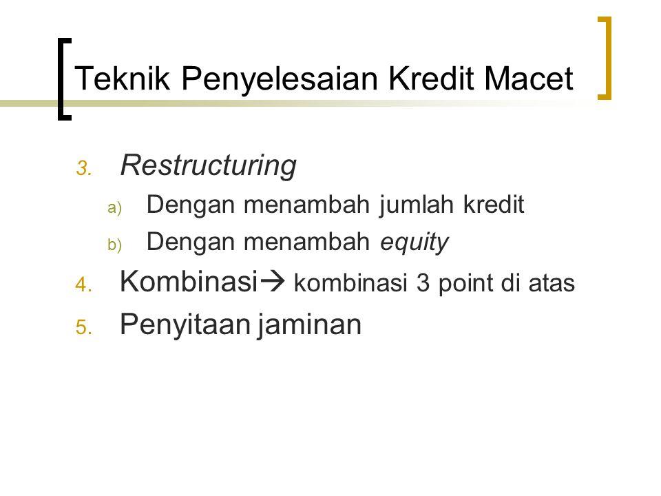 3. Restructuring a) Dengan menambah jumlah kredit b) Dengan menambah equity 4. Kombinasi  kombinasi 3 point di atas 5. Penyitaan jaminan Teknik Penye
