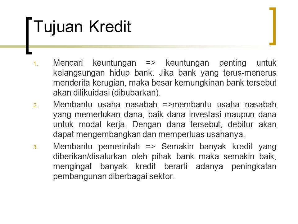 Tujuan Kredit 1. Mencari keuntungan => keuntungan penting untuk kelangsungan hidup bank. Jika bank yang terus-menerus menderita kerugian, maka besar k