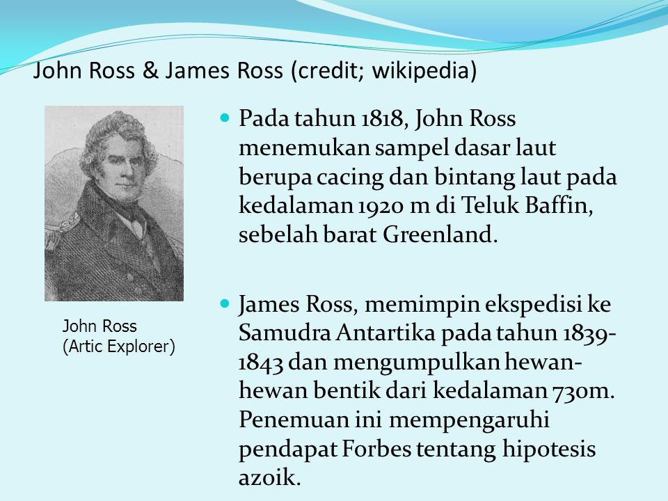 John Ross & James Ross (credit; wikipedia) Pada tahun 1818, John Ross menemukan sampel dasar laut berupa cacing dan bintang laut pada kedalaman 1920 m