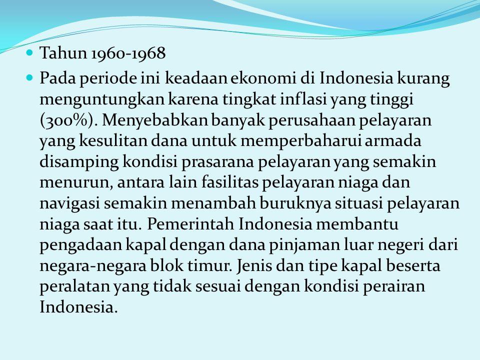 Tahun 1960-1968 Pada periode ini keadaan ekonomi di Indonesia kurang menguntungkan karena tingkat inflasi yang tinggi (300%).