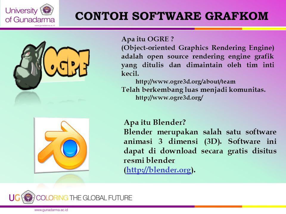CONTOH SOFTWARE GRAFKOM Apa itu Blender? Blender merupakan salah satu software animasi 3 dimensi (3D). Software ini dapat di download secara gratis di