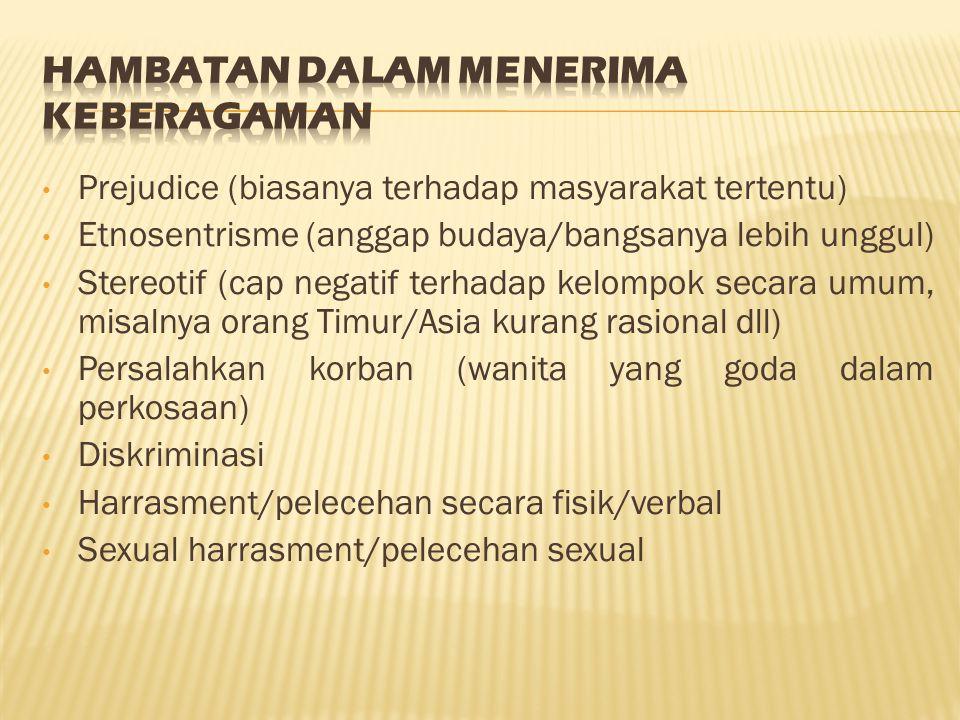 Prejudice (biasanya terhadap masyarakat tertentu) Etnosentrisme (anggap budaya/bangsanya lebih unggul) Stereotif (cap negatif terhadap kelompok secara umum, misalnya orang Timur/Asia kurang rasional dll) Persalahkan korban (wanita yang goda dalam perkosaan) Diskriminasi Harrasment/pelecehan secara fisik/verbal Sexual harrasment/pelecehan sexual