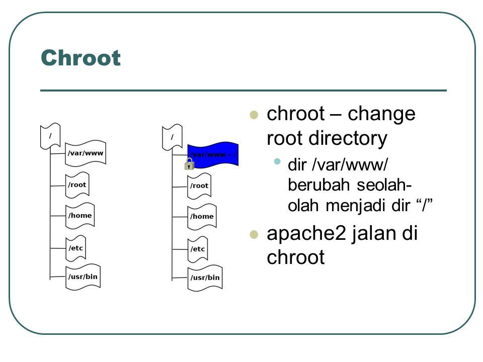 Chroot chroot – change root directory dir /var/www/ berubah seolah- olah menjadi dir / apache2 jalan di chroot