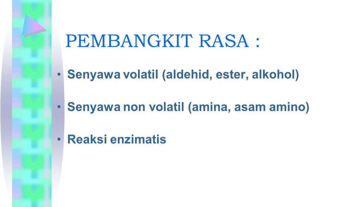 PEMBANGKIT RASA : Senyawa volatil (aldehid, ester, alkohol) Senyawa non volatil (amina, asam amino) Reaksi enzimatis
