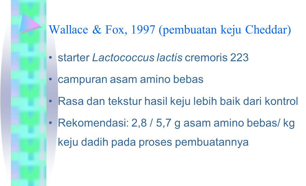 Wallace & Fox, 1997 (pembuatan keju Cheddar) starter Lactococcus lactis cremoris 223 campuran asam amino bebas Rasa dan tekstur hasil keju lebih baik dari kontrol Rekomendasi: 2,8 / 5,7 g asam amino bebas/ kg keju dadih pada proses pembuatannya