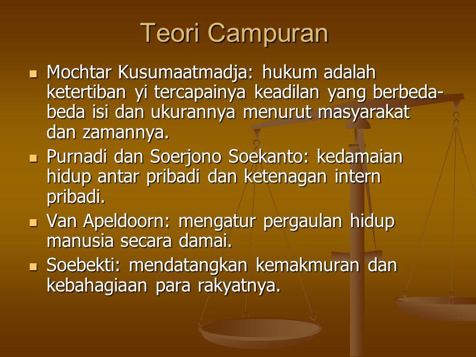 Teori Campuran Mochtar Kusumaatmadja: hukum adalah ketertiban yi tercapainya keadilan yang berbeda- beda isi dan ukurannya menurut masyarakat dan zama