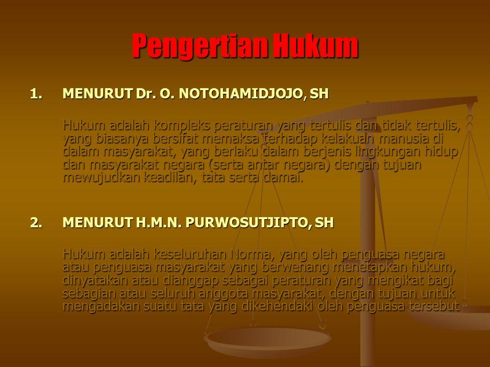 Pengertian Hukum 1.MENURUT Dr. O. NOTOHAMIDJOJO, SH Hukum adalah kompleks peraturan yang tertulis dan tidak tertulis, yang biasanya bersifat memaksa t