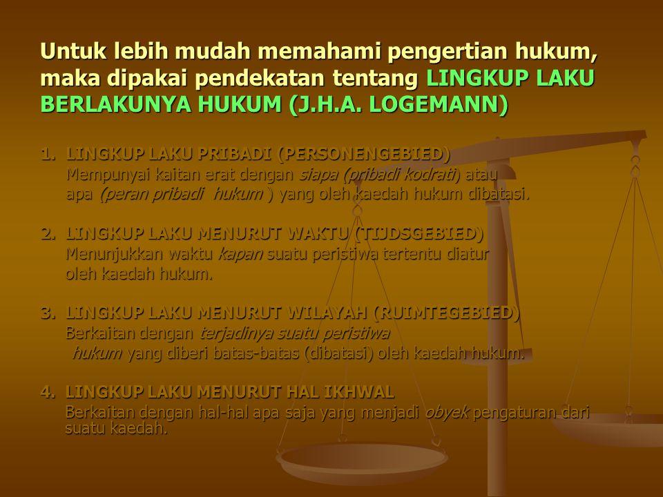 Untuk lebih mudah memahami pengertian hukum, maka dipakai pendekatan tentang LINGKUP LAKU BERLAKUNYA HUKUM (J.H.A. LOGEMANN) 1. LINGKUP LAKU PRIBADI (