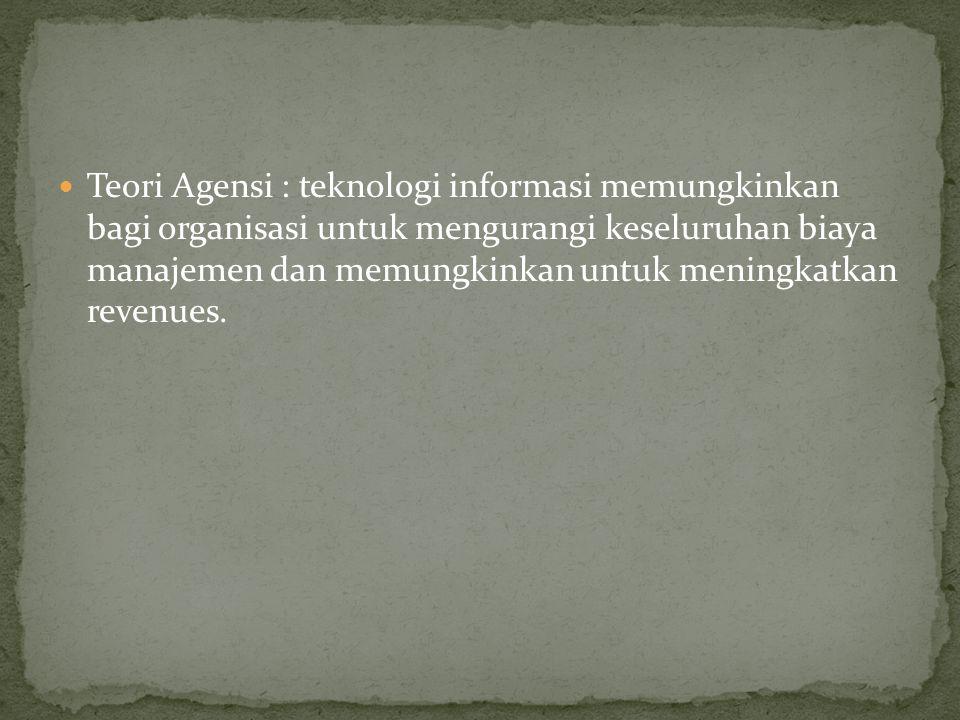 Teori Perilaku : Karena teknologi informasi digunakan untuk mempromosikan nilai-nilai dan keinginan organisasi.