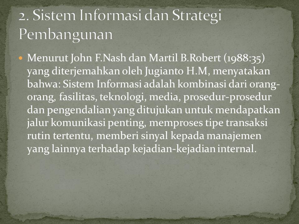Menurut John F.Nash dan Martil B.Robert (1988:35) yang diterjemahkan oleh Jugianto H.M, menyatakan bahwa: Sistem Informasi adalah kombinasi dari orang- orang, fasilitas, teknologi, media, prosedur-prosedur dan pengendalian yang ditujukan untuk mendapatkan jalur komunikasi penting, memproses tipe transaksi rutin tertentu, memberi sinyal kepada manajemen yang lainnya terhadap kejadian-kejadian internal.