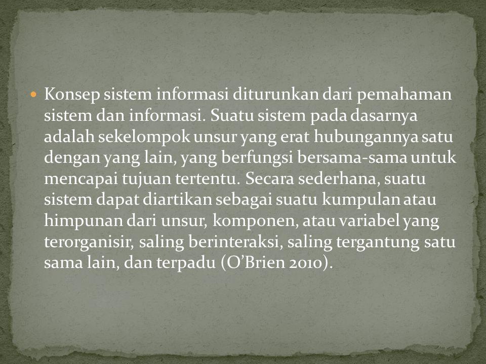Konsep sistem informasi diturunkan dari pemahaman sistem dan informasi.