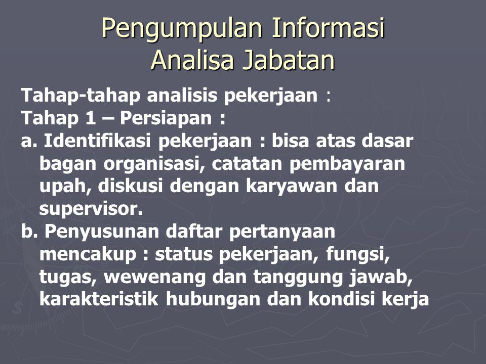 Pengumpulan Informasi Analisa Jabatan Tahap-tahap analisis pekerjaan : Tahap 1 – Persiapan : a.