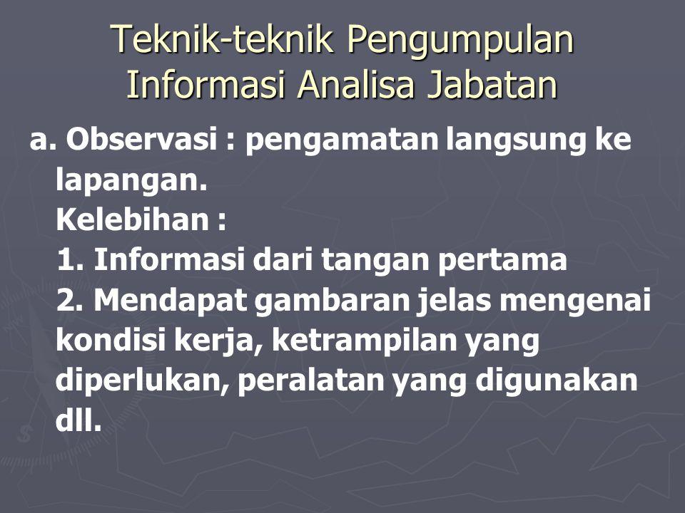 Teknik-teknik Pengumpulan Informasi Analisa Jabatan a.