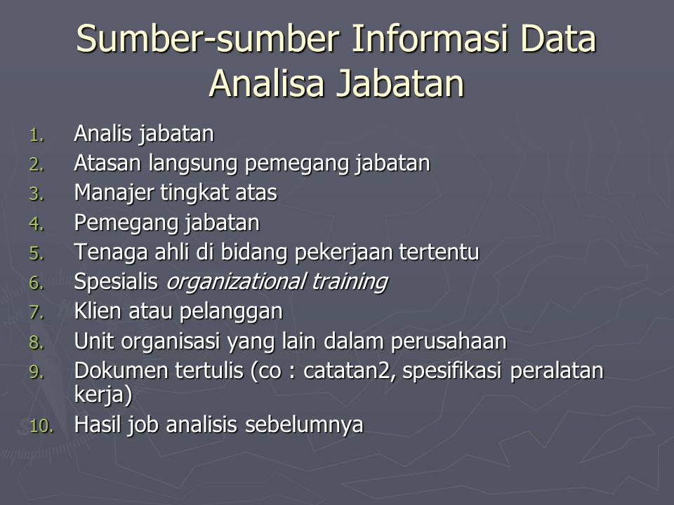 Sumber-sumber Informasi Data Analisa Jabatan 1.Analis jabatan 2.