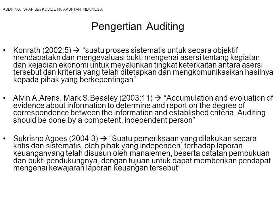 AUDITING, SPAP dan KODE ETIK AKUNTAN INDONESIA Pengertian Auditing Konrath (2002:5)  suatu proses sistematis untuk secara objektif mendapatakn dan mengevaluasi bukti mengenai asersi tentang kegiatan dan kejadian ekonomi untuk meyakinkan tingkat keterkaitan antara asersi tersebut dan kriteria yang telah ditetapkan dan mengkomunikasikan hasilnya kepada pihak yang berkepentingan Alvin A.Arens, Mark S.Beasley (2003:11)  Accumulation and evoluation of evidence about information to determine and report on the degree of correspondence between the information and established criteria.